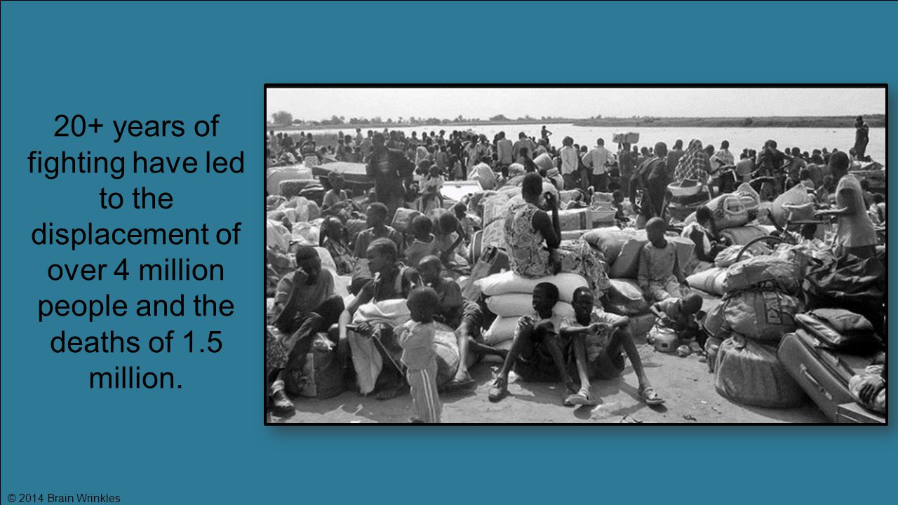 20+ years of fighting have led to the displacement of over 4 million people and the deaths of 1.5 million.