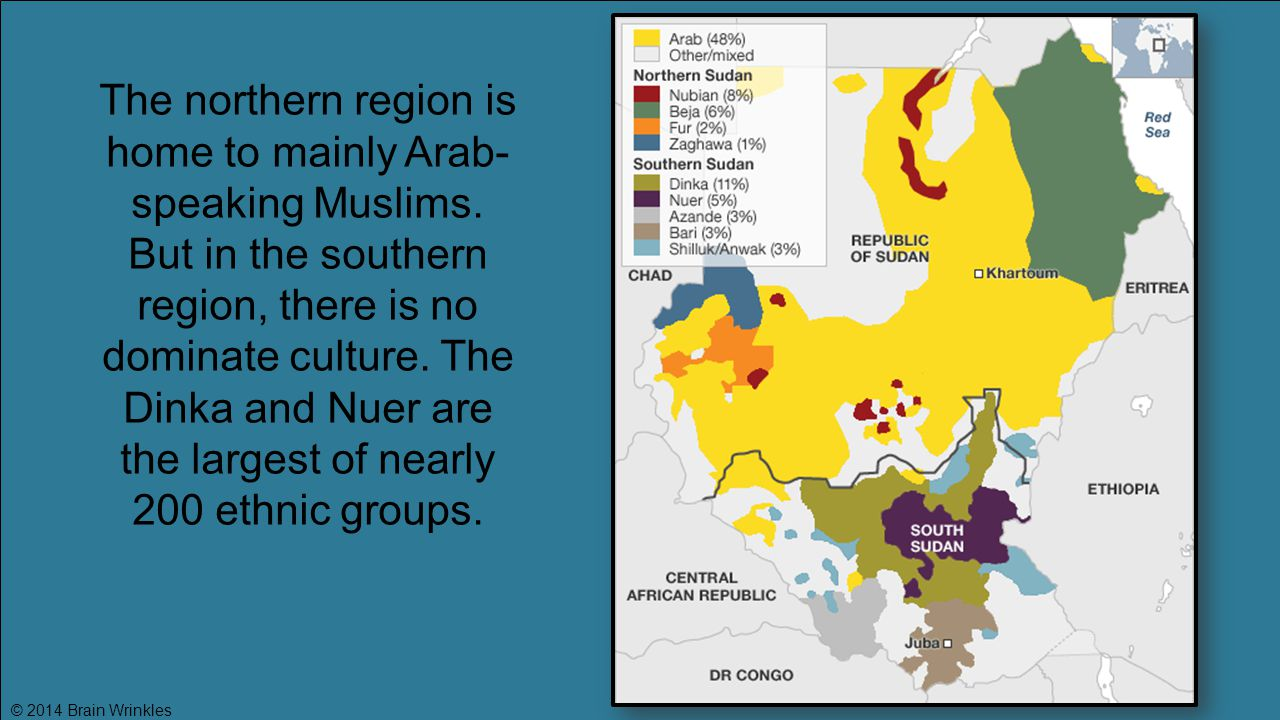 The northern region is home to mainly Arab- speaking Muslims. But in the southern region, there is no dominate culture. The Dinka and Nuer are the lar