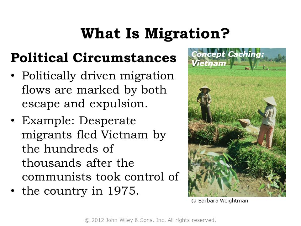 Political Circumstances Politically driven migration flows are marked by both escape and expulsion. Example: Desperate migrants fled Vietnam by the hu