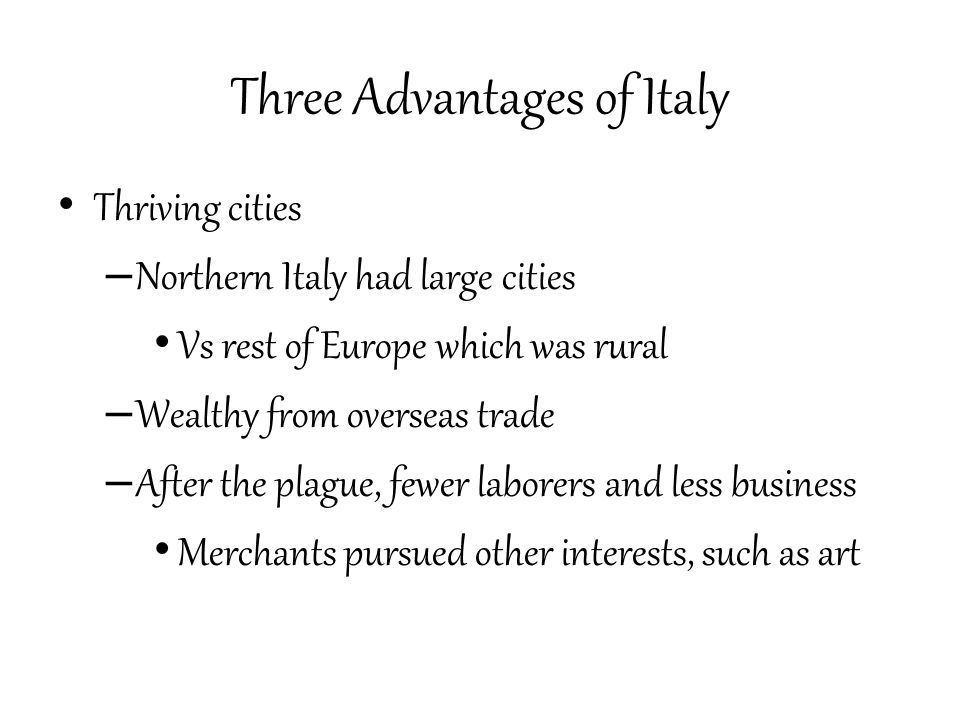 Merchants and the Medici Wealthy merchant class developed – Dominated politics – Did not inherit social rank City of Florence controlled by powerful banking family, the Medici Ruled as dictators