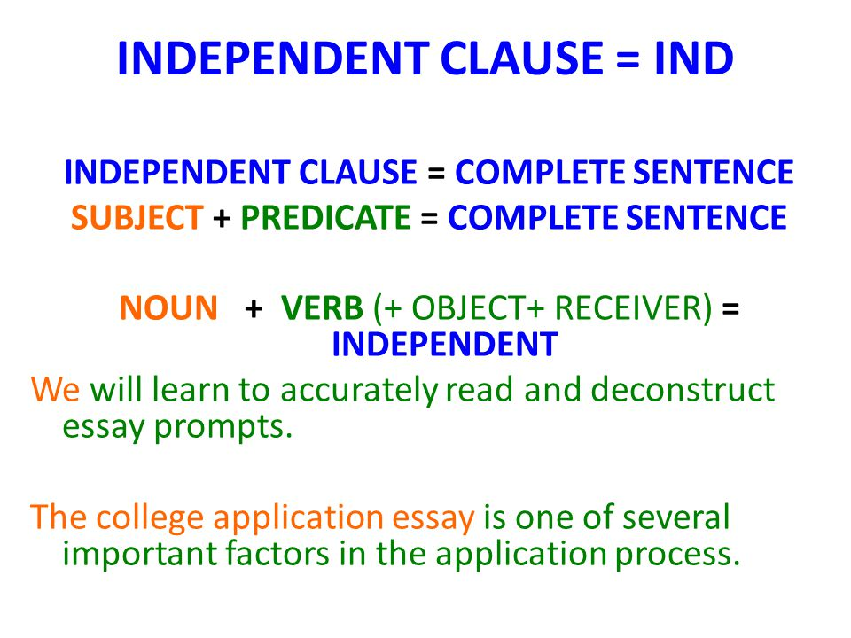 INDEPENDENT CLAUSE = IND INDEPENDENT CLAUSE = COMPLETE SENTENCE SUBJECT + PREDICATE = COMPLETE SENTENCE NOUN + VERB (+ OBJECT+ RECEIVER) = INDEPENDENT We will learn to accurately read and deconstruct essay prompts.