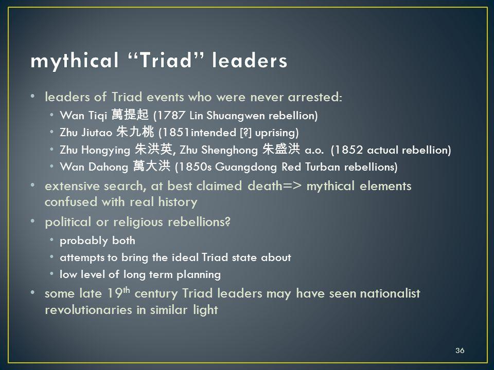 leaders of Triad events who were never arrested: Wan Tiqi 萬提起 (1787 Lin Shuangwen rebellion) Zhu Jiutao 朱九桃 (1851intended [?] uprising) Zhu Hongying 朱洪英, Zhu Shenghong 朱盛洪 a.o.