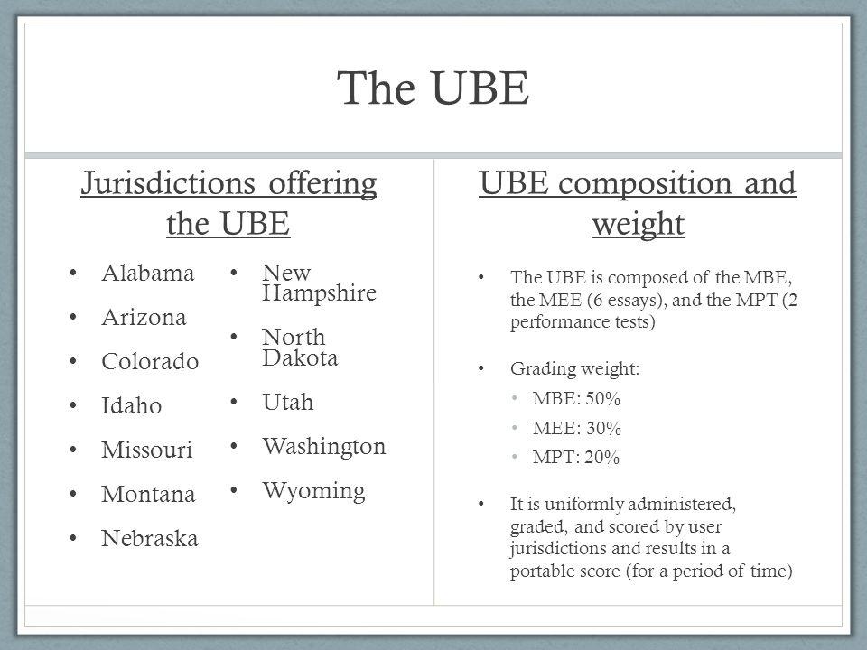 The UBE Jurisdictions offering the UBE Alabama Arizona Colorado Idaho Missouri Montana Nebraska New Hampshire North Dakota Utah Washington Wyoming UBE