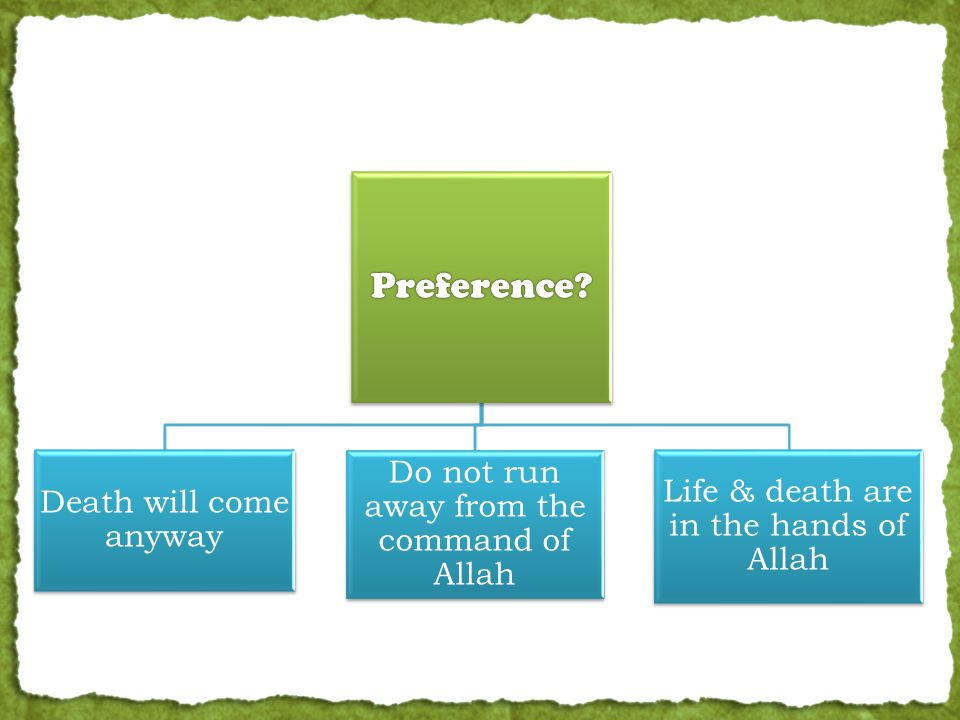 Preference? Death will come anyway Do not run away from the command of Allah Life & death are in the hands of Allah