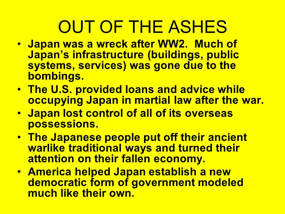 OUT OF THE ASHES On May 3, 1947, Japan's new constitution became official.