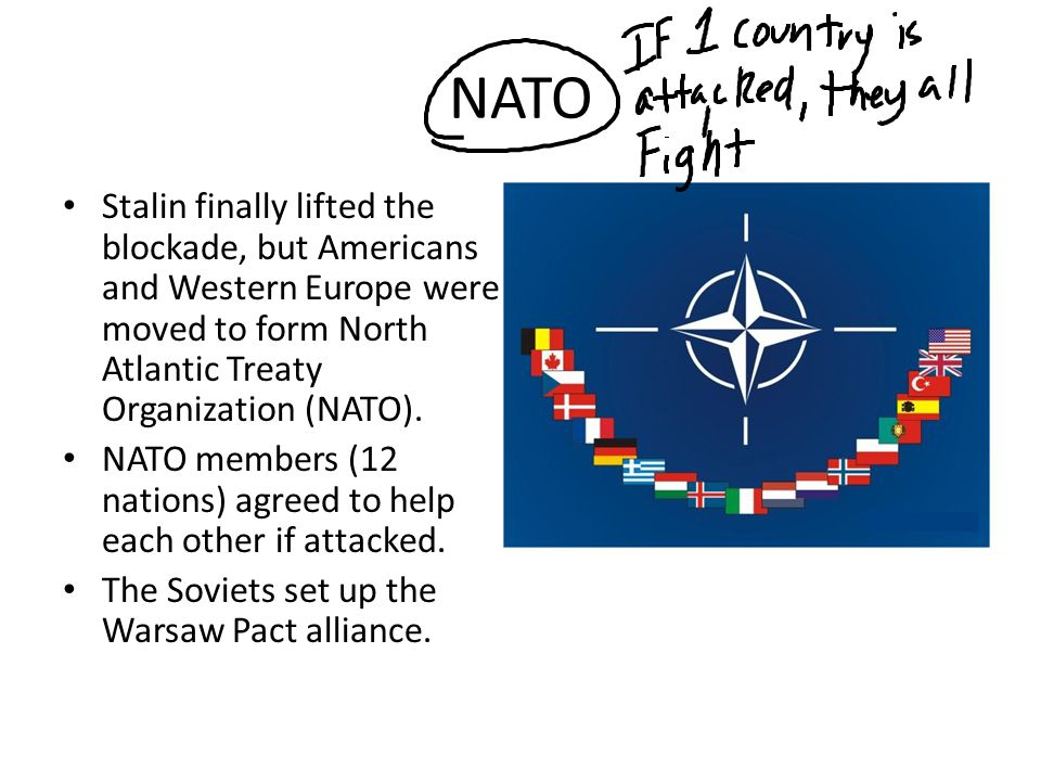NATO Stalin finally lifted the blockade, but Americans and Western Europe were moved to form North Atlantic Treaty Organization (NATO). NATO members (