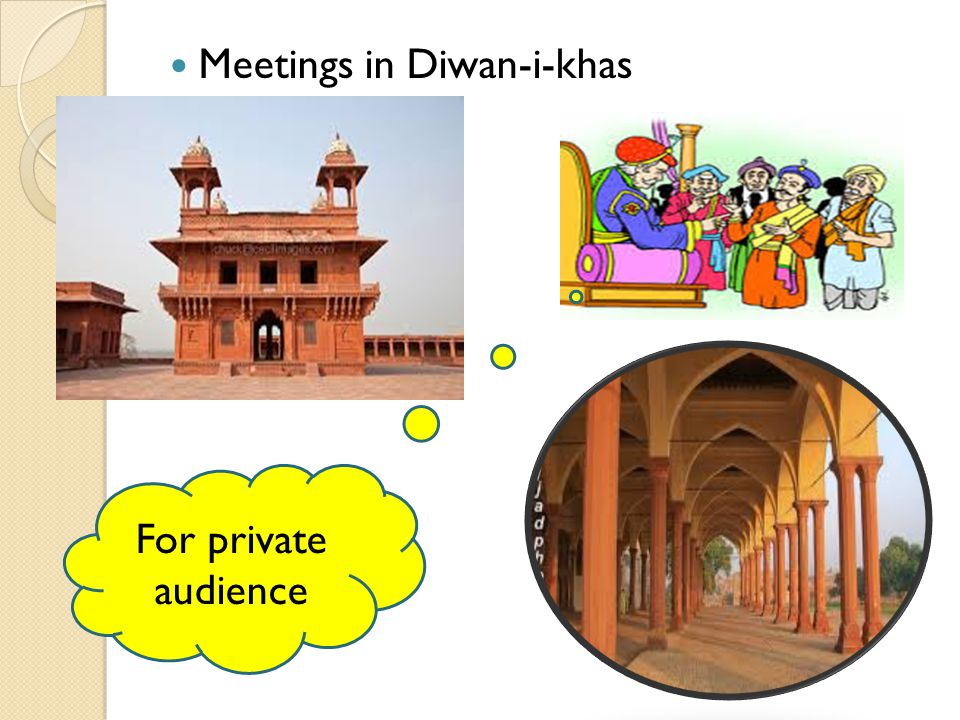 Meetings in Diwan-i-khas For private audience