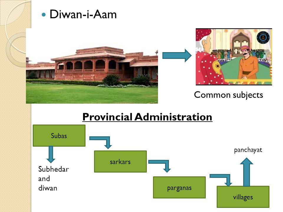 Diwan-i-Aam Provincial Administration Subas sarkars parganas villages Subhedar and diwan panchayat Common subjects