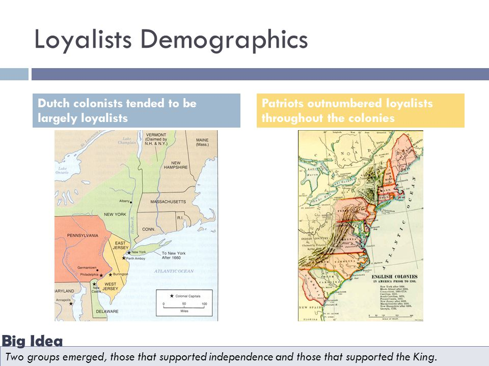 Loyalists Demographics Dutch colonists tended to be largely loyalists Patriots outnumbered loyalists throughout the colonies Two groups emerged, those that supported independence and those that supported the King.