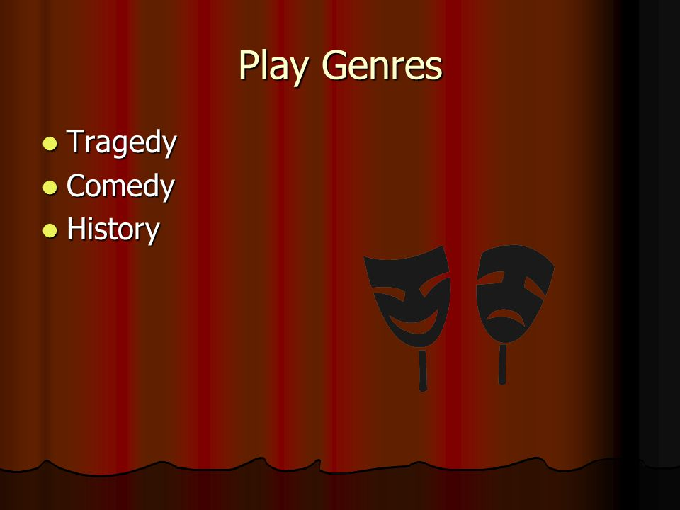 Play Genres Tragedy Tragedy Comedy Comedy History History