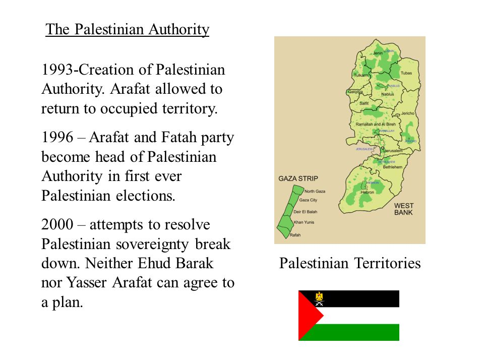 1993-Creation of Palestinian Authority. Arafat allowed to return to occupied territory.