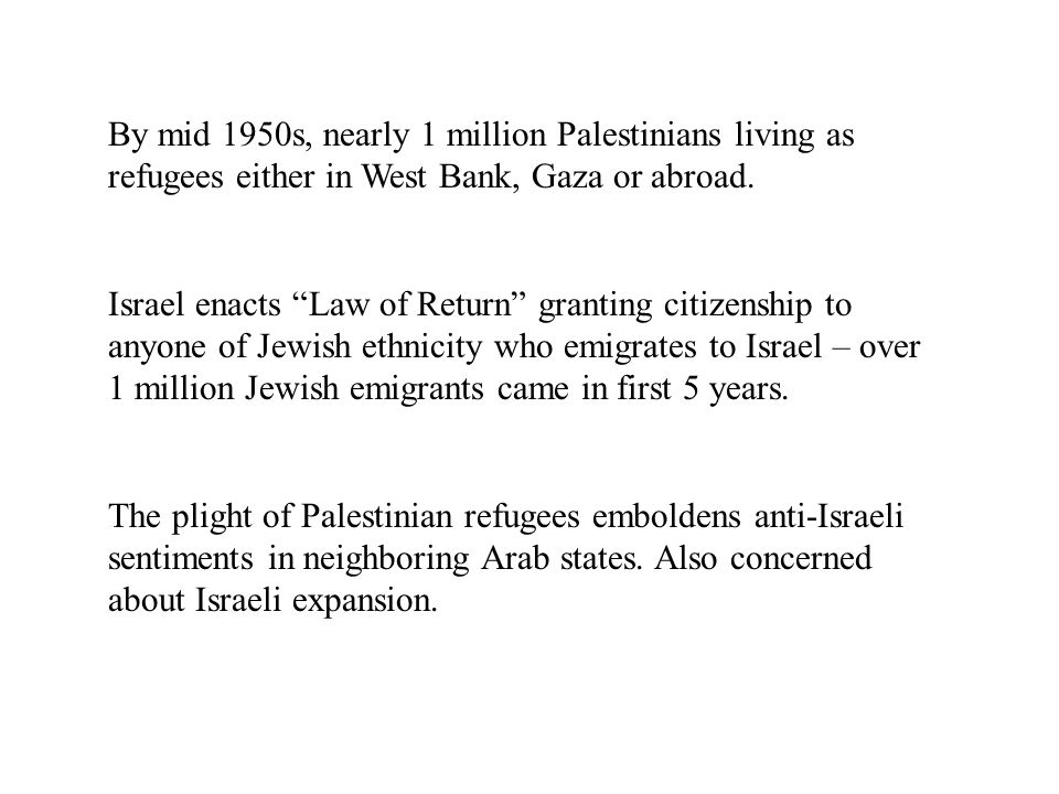 By mid 1950s, nearly 1 million Palestinians living as refugees either in West Bank, Gaza or abroad.