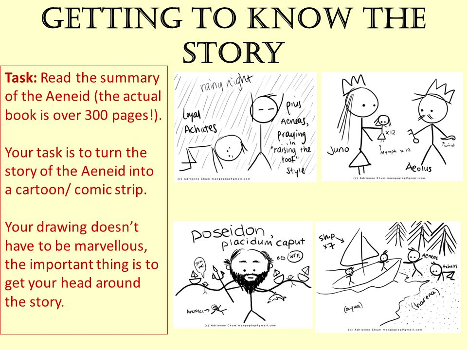 Getting to know the story Task: Read the summary of the Aeneid (the actual book is over 300 pages!). Your task is to turn the story of the Aeneid into