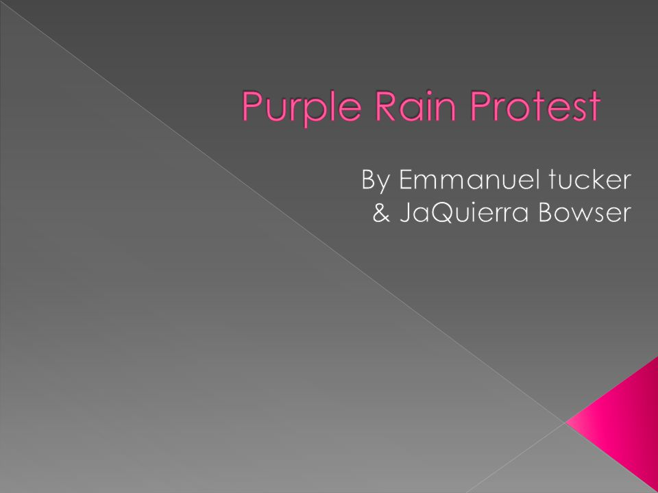  The Purple Rain Protest, Purple Rain Revolt or Purple Rain Riot was an anti- apartheid protest held in Cape Town on 2 September 1989, four days before South Africa s racially segregated parliament held its elections.