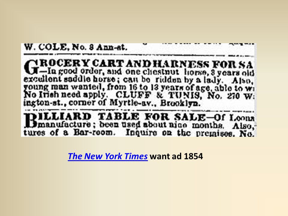 The New York TimesThe New York Times want ad 1854