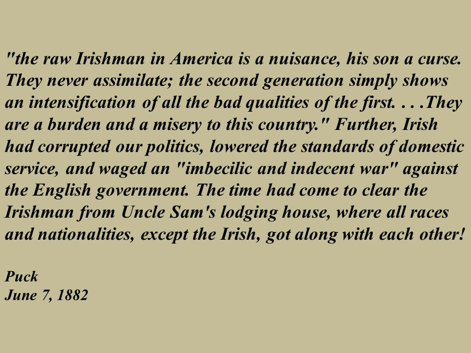 the raw Irishman in America is a nuisance, his son a curse.