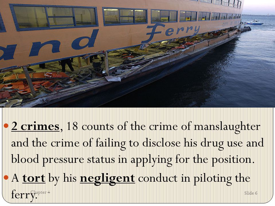Slide 6 Chapter 4 2 crimes, 18 counts of the crime of manslaughter and the crime of failing to disclose his drug use and blood pressure status in appl