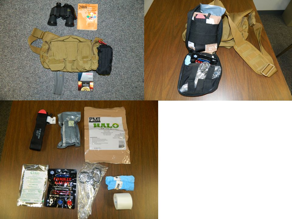 Go-Bags  Tournequet  Occlusive dressing  Quik Clot Gauze  Trauma Sheers  Bandage  Gloves  Tape  Non-adherent dressing
