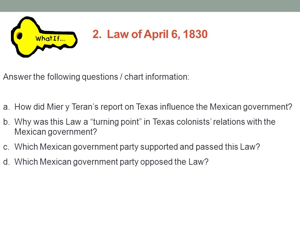 2. Law of April 6, 1830 Parts/Components of Law of April 6, 1830 1. 2. 3. 4. 5.