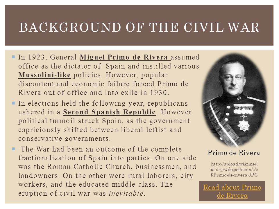  In 1923, General Miguel Primo de Rivera assumed office as the dictator of Spain and instilled various Mussolini-like policies.