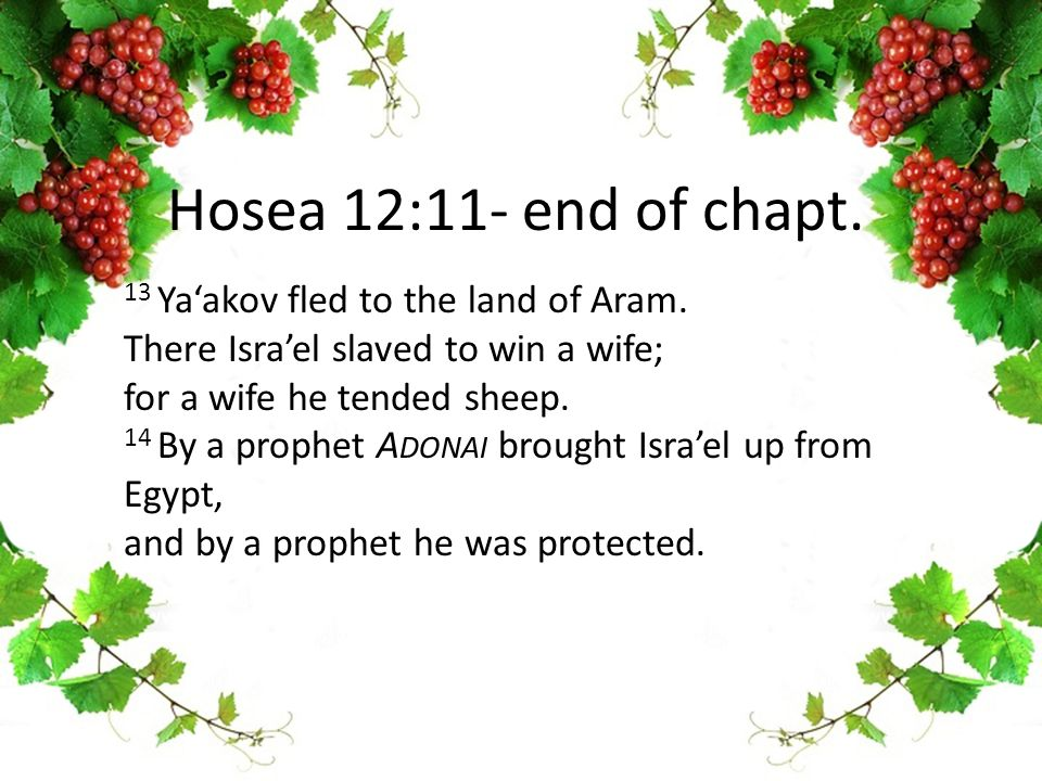 13 Ya'akov fled to the land of Aram.