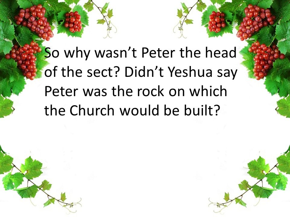 So why wasn't Peter the head of the sect.
