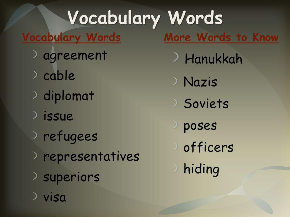 Vocabulary Words agreement cable diplomat issue refugees representatives superiors visa Hanukkah Nazis Soviets poses officers hiding Vocabulary WordsM