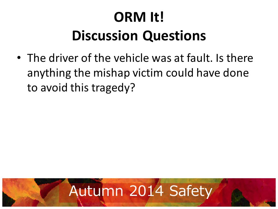 ORM It. Discussion Questions The driver of the vehicle was at fault.
