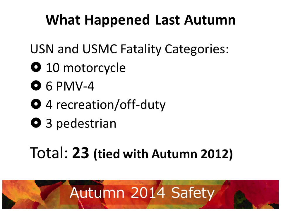 Week 2012 Alcohol Alcohol VehicleMotorcycleRec/Off-Duty Ped MCROD PMV PED No PPE USN and USMC combined data, 9/3/2013 - 11/30/2013, Updated 10/01/2014 1 2 3 4 5 6 7 8 9 10 10 11 11 12 12 2013 Autumn Safety Campaign Results Total Fatals 2 6 9 6 PMV MC PED ROD Total Fatals 3 4 10 6 PMV MC PED ROD 23 Current