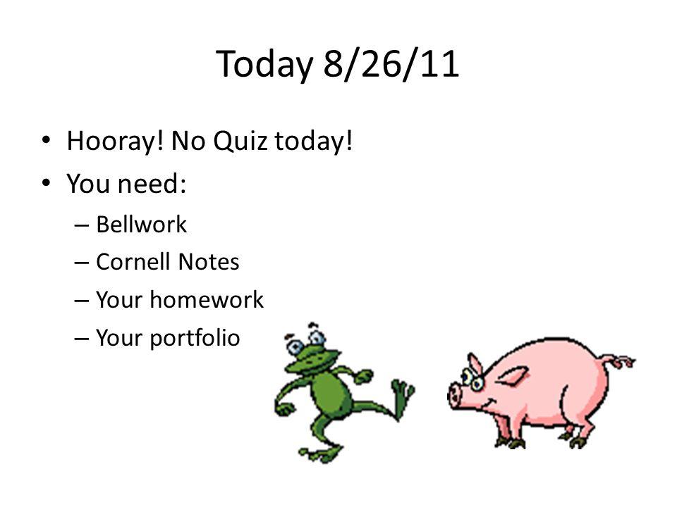 Today 8/26/11 Hooray. No Quiz today.