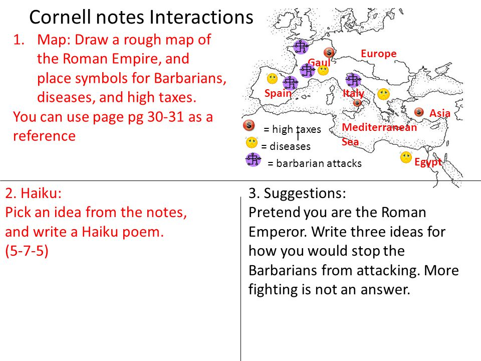 Spain Mediterranean Sea Gaul Italy Egypt Asia Europe = diseases = high taxes = barbarian attacks Cornell notes Interactions 1.Map: Draw a rough map of the Roman Empire, and place symbols for Barbarians, diseases, and high taxes.