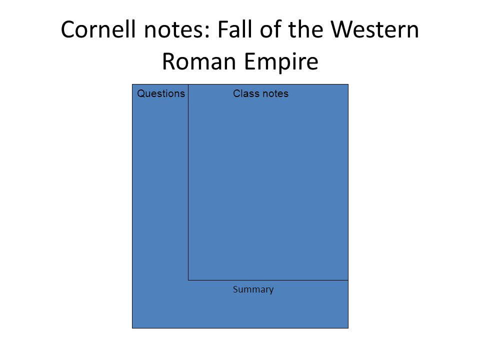 Cornell notes: Fall of the Western Roman Empire QuestionsClass notes Summary