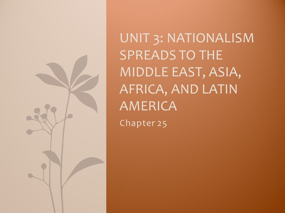 Chapter 25 UNIT 3: NATIONALISM SPREADS TO THE MIDDLE EAST, ASIA, AFRICA, AND LATIN AMERICA