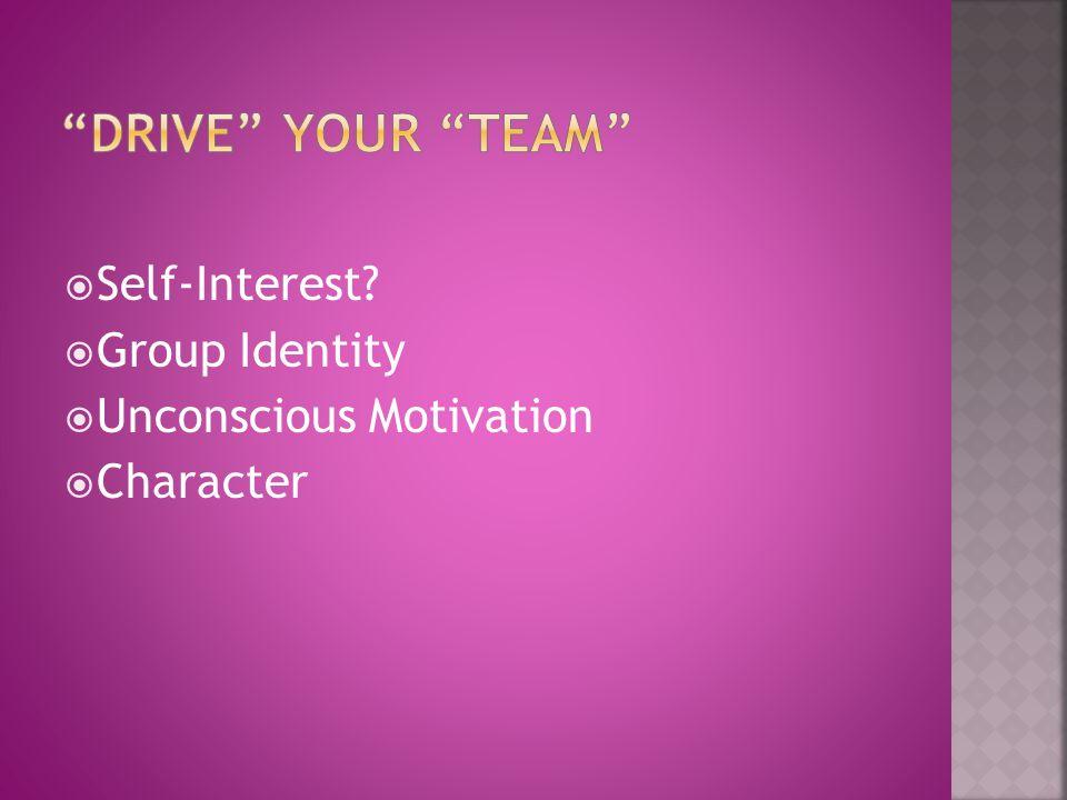  Self-Interest?  Group Identity  Unconscious Motivation  Character