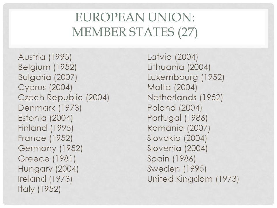 EUROPEAN UNION: MEMBER STATES (27) Austria (1995) Belgium (1952) Bulgaria (2007) Cyprus (2004) Czech Republic (2004) Denmark (1973) Estonia (2004) Fin
