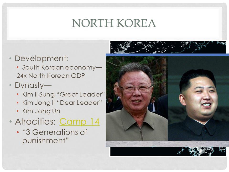 "NORTH KOREA Development: South Korean economy— 24x North Korean GDP Dynasty— Kim Il Sung ""Great Leader"" Kim Jong Il ""Dear Leader"" Kim Jong Un Atrociti"