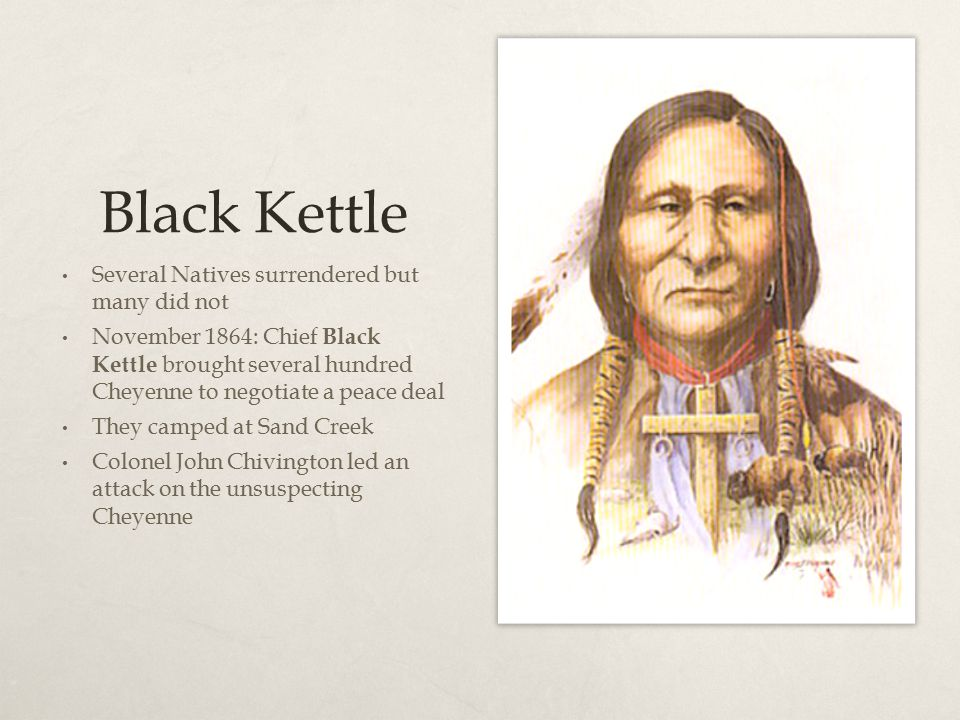 Black Kettle Several Natives surrendered but many did not November 1864: Chief Black Kettle brought several hundred Cheyenne to negotiate a peace deal
