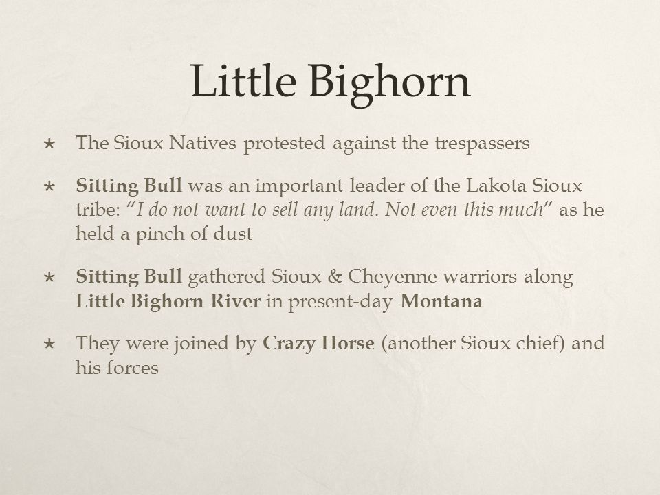 "Little Bighorn  The Sioux Natives protested against the trespassers  Sitting Bull was an important leader of the Lakota Sioux tribe: "" I do not want"