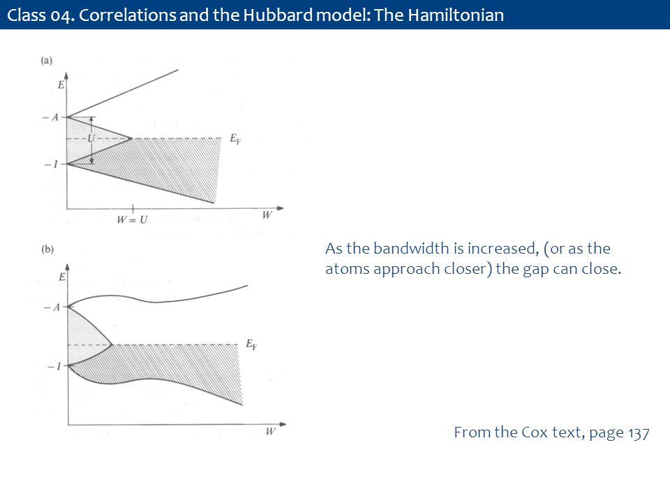 Class 04. Correlations and the Hubbard model: The Hamiltonian From the Cox text, page 137 As the bandwidth is increased, (or as the atoms approach clo