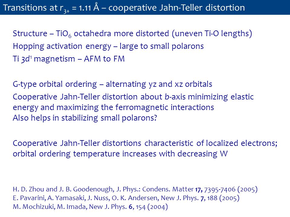 Transitions at r 3+ = 1.11 Å – cooperative Jahn-Teller distortion Structure – TiO 6 octahedra more distorted (uneven Ti-O lengths) Hopping activation energy – large to small polarons Ti 3d 1 magnetism – AFM to FM G-type orbital ordering – alternating yz and xz orbitals Cooperative Jahn-Teller distortion about b-axis minimizing elastic energy and maximizing the ferromagnetic interactions Also helps in stabilizing small polarons.