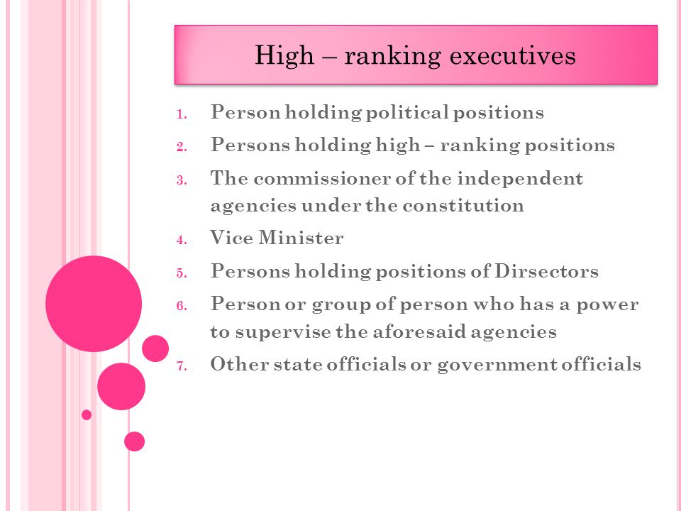1. Person holding political positions 2. Persons holding high – ranking positions 3.