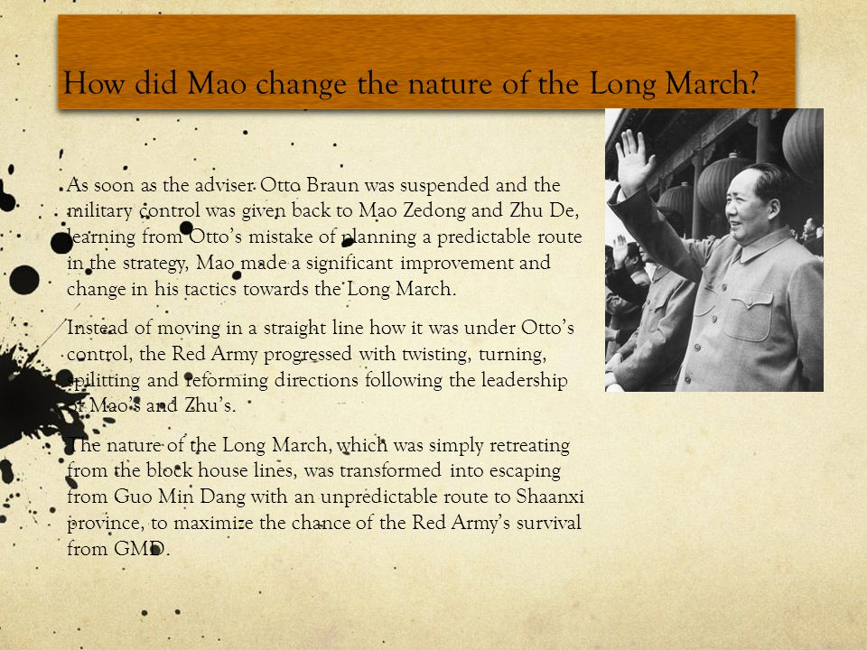 How did Mao change the nature of the Long March.
