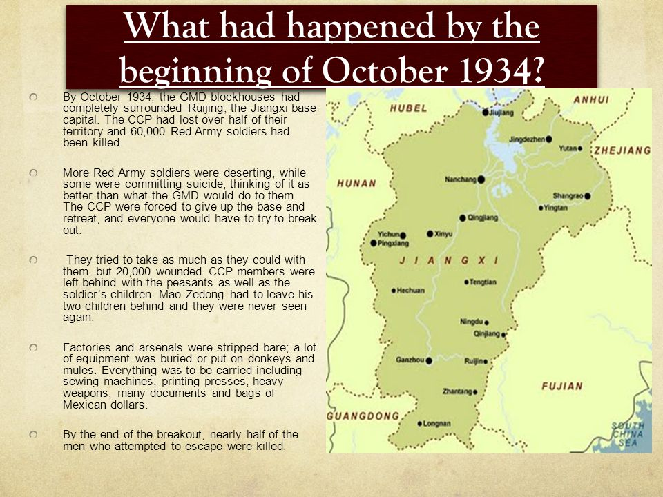 What had happened by the beginning of October 1934.