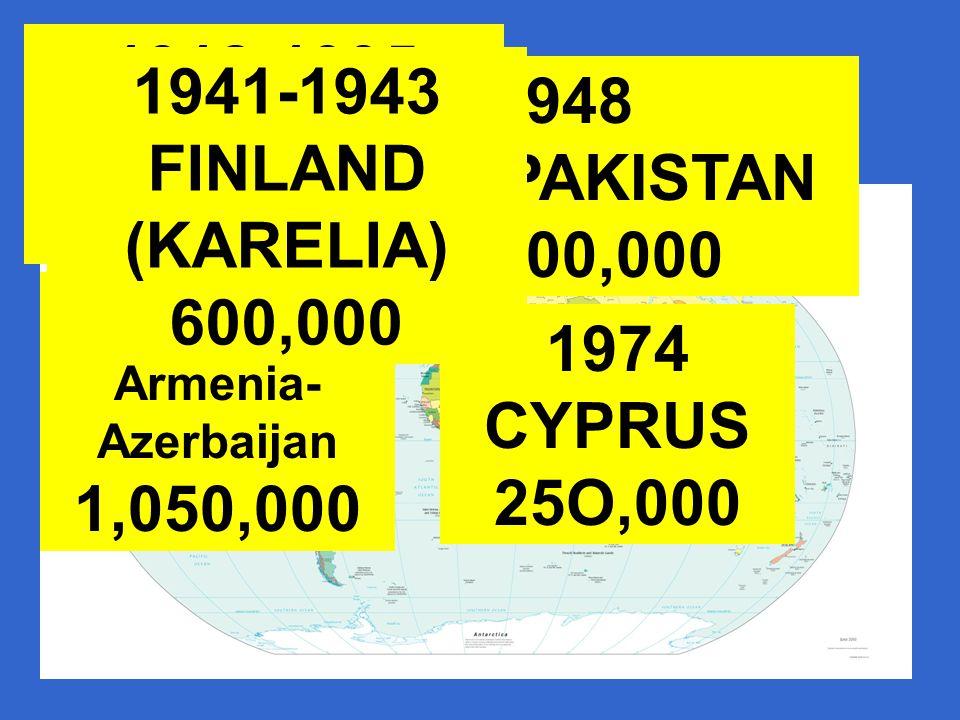 1912-1995 BALKANS 7,000,000 1948 INDIA-PAKISTAN 14,000,000 1984-1994 Armenia- Azerbaijan 1,050,000 1974 CYPRUS 25O,000 1941-1943 FINLAND (KARELIA) 600,000