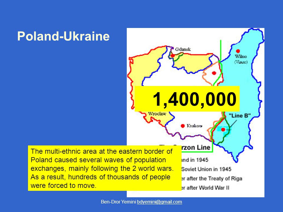 Ben-Dror Yemini bdyemini@gmail.com Poland-Ukraine The multi-ethnic area at the eastern border of Poland caused several waves of population exchanges, mainly following the 2 world wars.