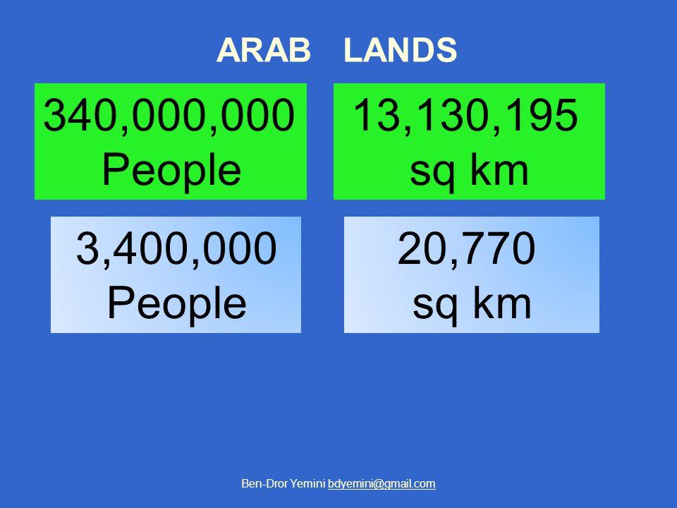 Ben-Dror Yemini bdyemini@gmail.com ARAB LANDS 13,130,195 sq km 20,770 sq km 340,000,000 People 3,400,000 People