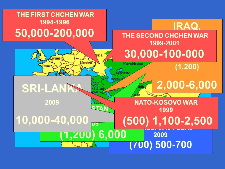 IRAQ, FALUJJAH 2004 (1,200) 2,000-6,000 ISRAEL: CAST LEAD 2009 (700) 500-700 PAKISTAN SWAT VALLEY 2009 (1,200) 6,000 THE SECOND CHCHEN WAR 1999-2001 30,000-100-000 SRI-LANKA 2009 10,000-40,000 THE FIRST CHCHEN WAR 1994-1996 50,000-200,000 NATO-KOSOVO WAR 1999 (500) 1,100-2,500
