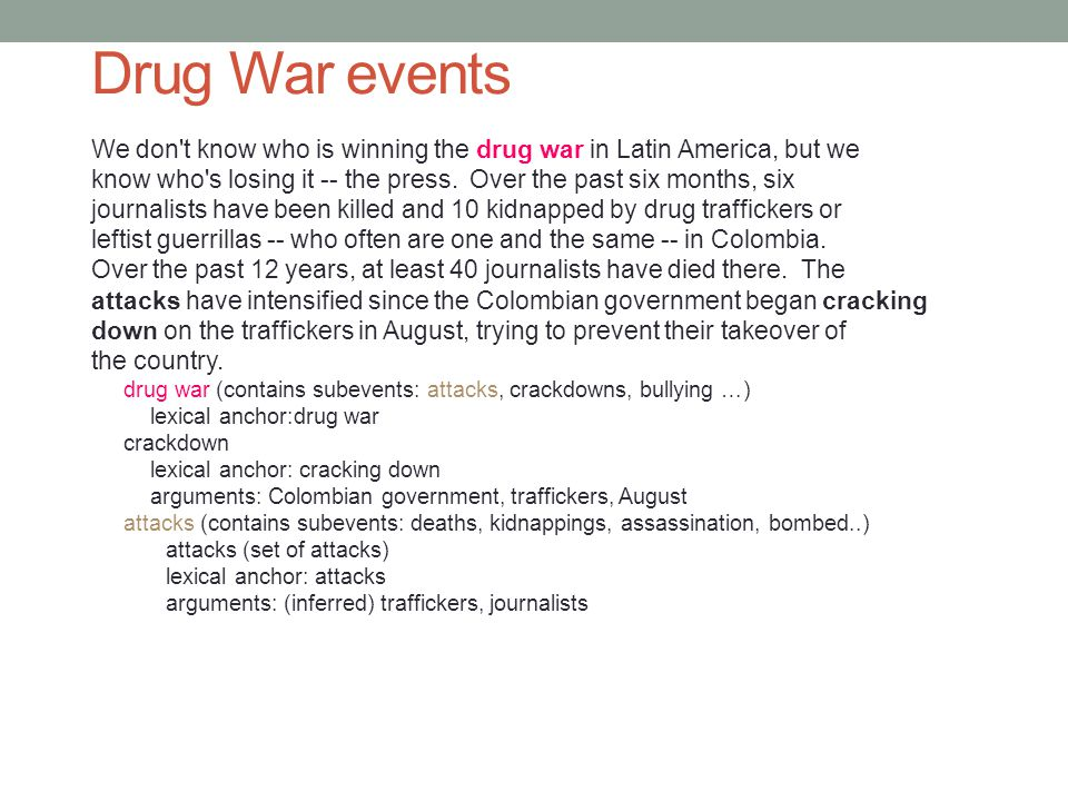 Drug War events We don t know who is winning the drug war in Latin America, but we know who s losing it -- the press.