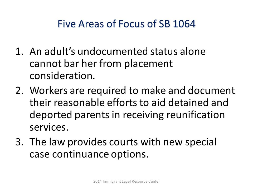 Five Areas of Focus of SB 1064 1.An adult's undocumented status alone cannot bar her from placement consideration.