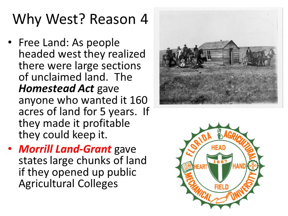 Why West? Reason 4 Free Land: As people headed west they realized there were large sections of unclaimed land. The Homestead Act gave anyone who wante